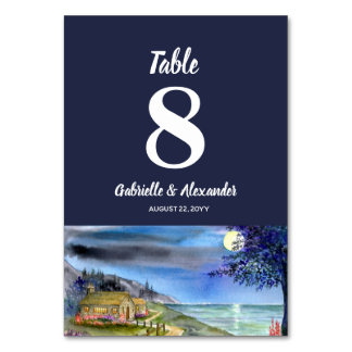 Moonlit Path Watercolor Wedding Table Number