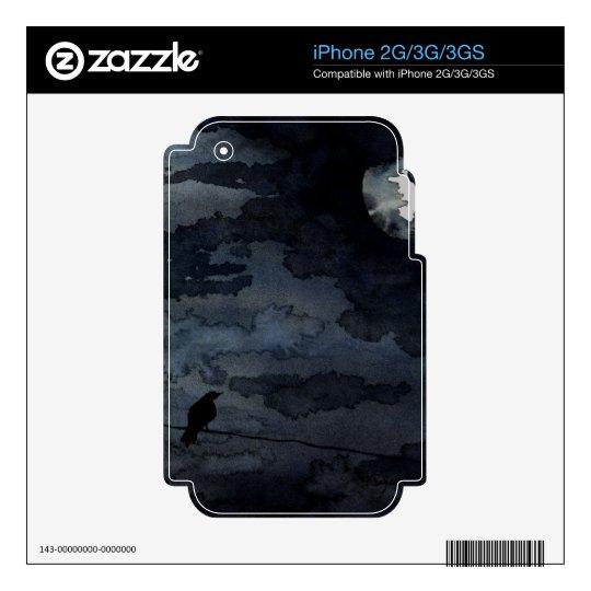 Moonlit Raven - Full Moon Art iPhone 3 Decals