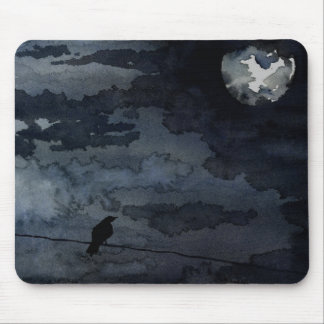Moonlit Raven - Full Moon Art Mouse Pad