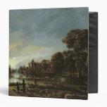 Moonlit River Landscape with Cottages Binder