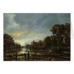 Moonlit River Landscape with Cottages Cards