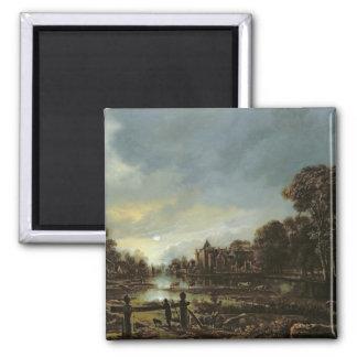 Moonlit River Landscape with Cottages Magnet