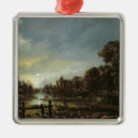 Moonlit River Landscape with Cottages Christmas Tree Ornaments