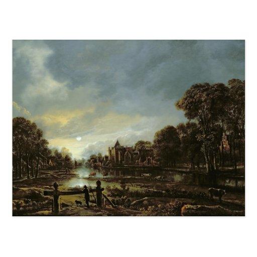Moonlit River Landscape with Cottages Post Cards