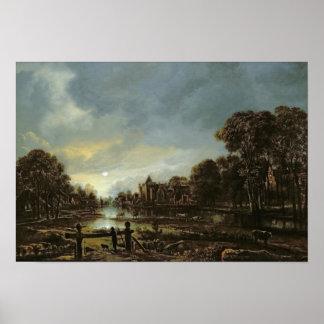 Moonlit River Landscape with Cottages Poster