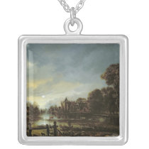 Moonlit River Landscape with Cottages Silver Plated Necklace