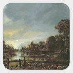 Moonlit River Landscape with Cottages Square Stickers