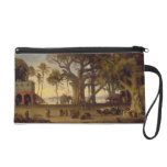 Moonlit Scene of Indian Figures and Elephants amon Wristlet Clutch