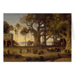 Moonlit Scene of Indian Figures and Elephants amon Greeting Card