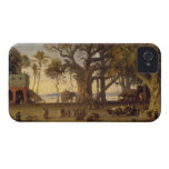 Moonlit Scene of Indian Figures and Elephants amon Case-Mate iPhone 4 Case