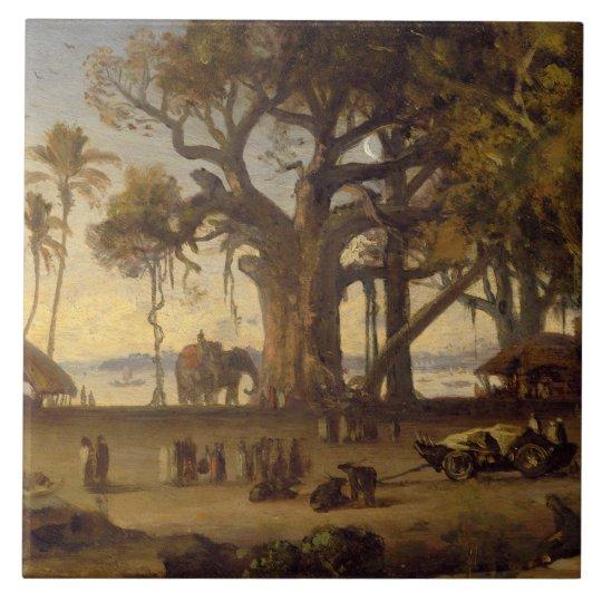 Moonlit Scene of Indian Figures and Elephants amon Ceramic Tile