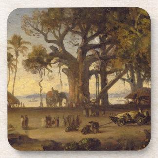 Moonlit Scene of Indian Figures and Elephants amon Coasters