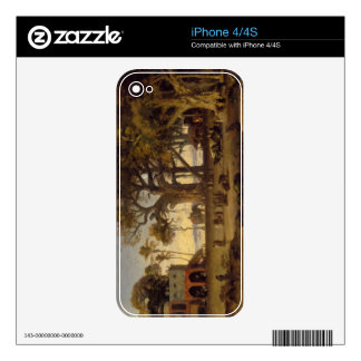 Moonlit Scene of Indian Figures and Elephants amon Decal For iPhone 4S