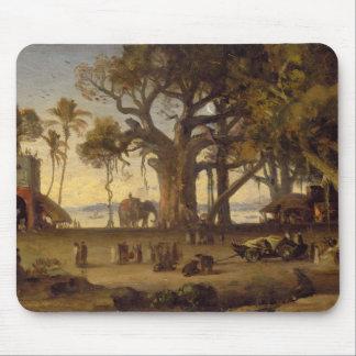 Moonlit Scene of Indian Figures and Elephants amon Mouse Pad
