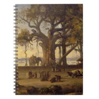 Moonlit Scene of Indian Figures and Elephants amon Note Book