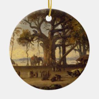 Moonlit Scene of Indian Figures and Elephants amon Christmas Tree Ornament
