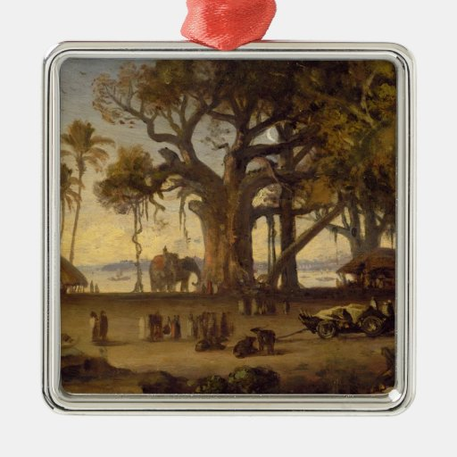 Moonlit Scene of Indian Figures and Elephants amon Square Metal Christmas Ornament