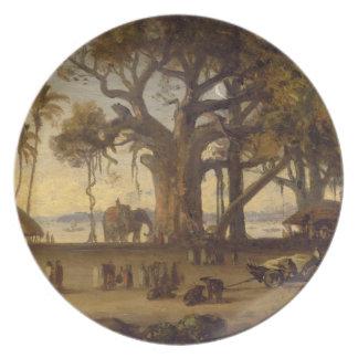 Moonlit Scene of Indian Figures and Elephants amon Dinner Plate