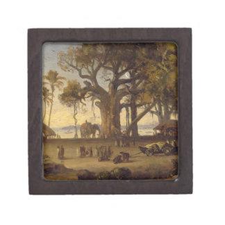 Moonlit Scene of Indian Figures and Elephants amon Premium Gift Box