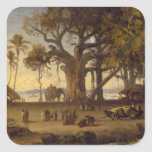 Moonlit Scene of Indian Figures and Elephants amon Square Sticker