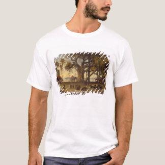 Moonlit Scene of Indian Figures and Elephants amon T-Shirt