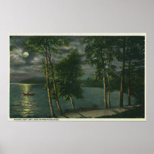 Moonlit Scene on the Lake Poster