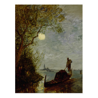 Moonlit Scene with Gondola Postcard
