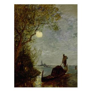 Moonlit Scene with Gondola Postcard