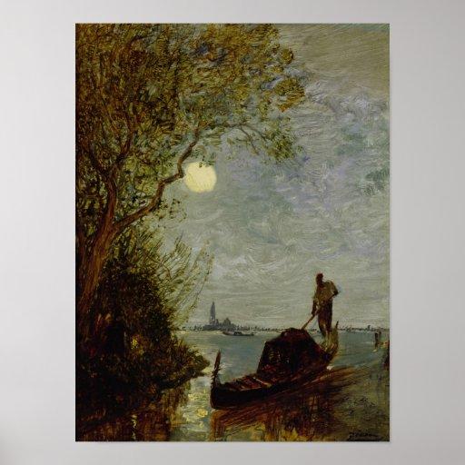 Moonlit Scene with Gondola Poster