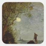 Moonlit Scene with Gondola Square Sticker