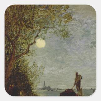 Moonlit Scene with Gondola Stickers