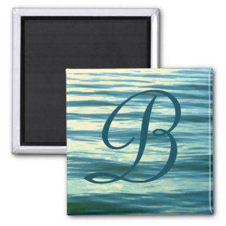 Moonlit Sea Monogrammed Stateroom Door Marker 2 Inch Square Magnet