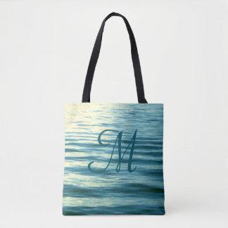 Moonlit Sea Monogrammed Tote Bag
