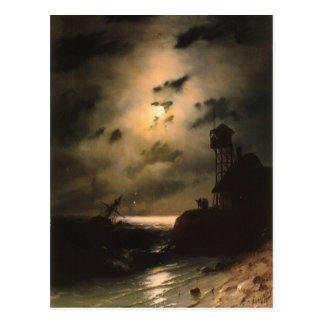 Moonlit Seascape With Shipwreck Postcards