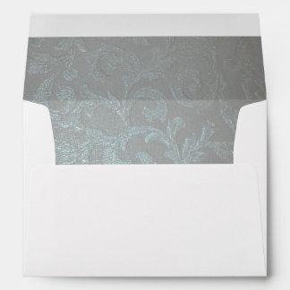 Moonlit Silver Blue Pattern Inside Lined Envelope
