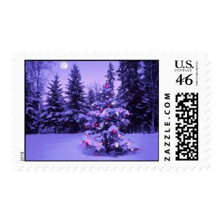 Moonlit snowfield postage stamps
