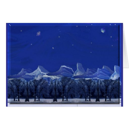 Moonlit Snowy Night Greeting Card