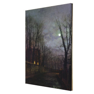 Moonlit Street Scene, 1882 (oil on canvas) 2 Stretched Canvas Print
