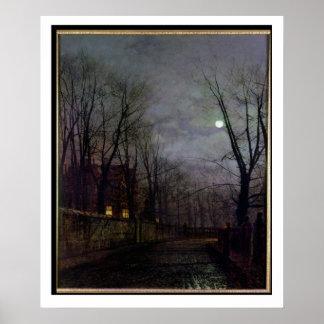 Moonlit Street Scene, 1882 (oil on canvas) 2 Poster