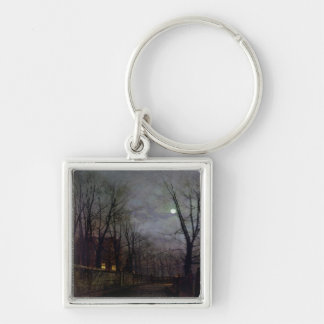 Moonlit Street Scene, 1882 (oil on canvas) 2 Silver-Colored Square Keychain