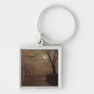 Moonlit Street Scene, 1882 (oil on canvas) Silver-Colored Square Keychain