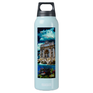 Moonlit Trevi Fountain Tropical Fantasy Insulated Water Bottle