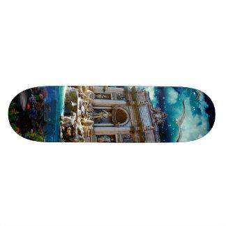 Moonlit Trevi Fountain Tropical Fantasy Skate Deck