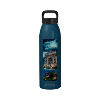 Moonlit Trevi Fountain Tropical Fantasy Drinking Bottles