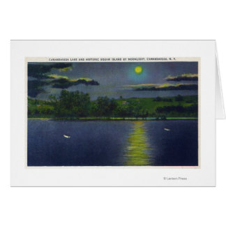 Moonlit View of Historic Squaw Island and Lake Card