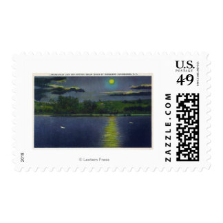 Moonlit View of Historic Squaw Island and Lake Postage