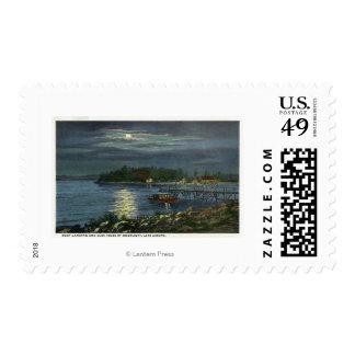 Moonlit View of Lake, Boat Landing & the Postage