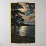 Moonlit View of the Lake Print