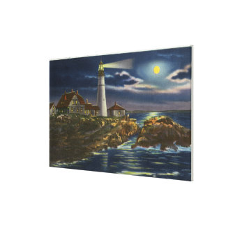 Moonlit View of the Portland Head Lighthouse Canvas Print
