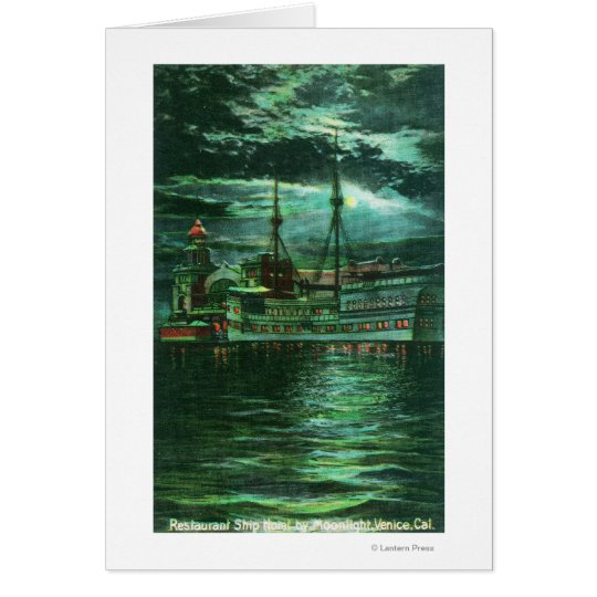 Moonlit View of the Restaurant Ship Hotel Card